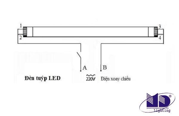 Sơ đồ cách đấu bóng tuýp LED mới